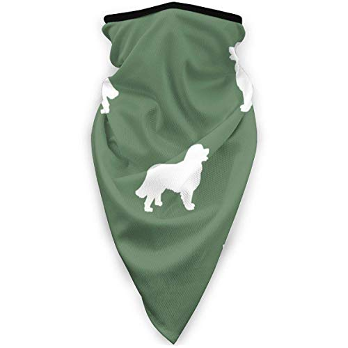 IZOU Bernese Mountain Dog Silhouette Dog Breed Pattern Med Green Neck Gaiter Face Mask,Multifunction for Man Women seasons Magic Scarf Bandana Balaclava