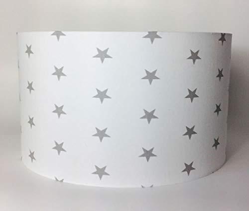 éclairage ou Abat-jour en tissu Blanc avec Gris étoiles 30 CMD X 20 cmh