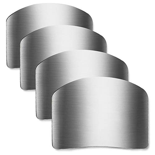 Promifun Stainless Steel Finger Guard, Kitchen Finger Protector, 4 Pcs of Knife Guard, For Dicing and Slicing in Kitchens