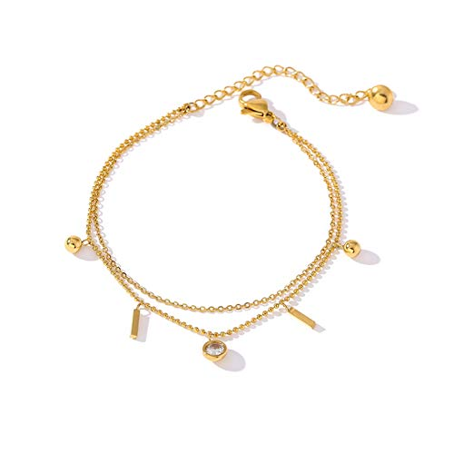 N Bracelet jewelry Exquisite Multi layer Stainless Steel Bangle Bracelet for Women Cubic Zirconia Bracelet Jewelry Gold Metal Anklet Valentines Day present