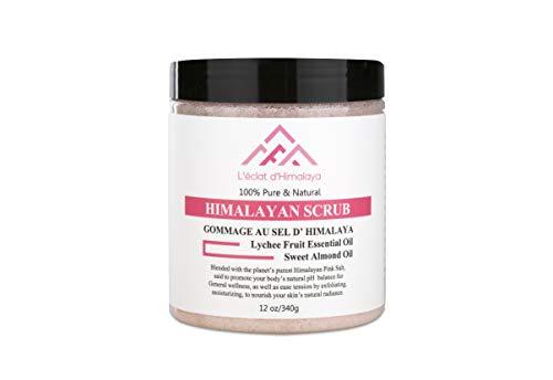 Gommage Corps et Visage Naturel au Sel Rose d'Himalaya 380g- Vitamine E- Aux Huiles Essentielles de Jojoba et d'Amande. Parfum Litchi