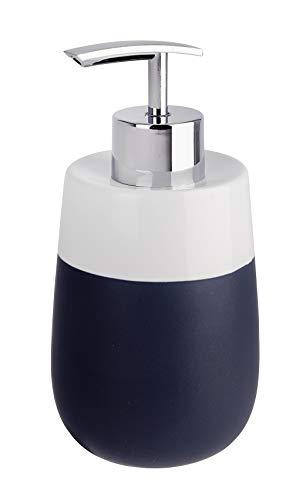 WENKO Seifenspender Malta Blau/Weiß Keramik - Flüssigseifen-Spender, Spülmittel-Spender Fassungsvermögen: 0.3 l, Keramik, 7.5 x 15 x 8 cm, Dunkelblau