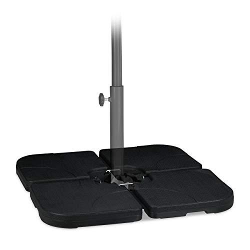 Relaxdays Platten Schirmständer, für Ampelschirm, befüllbar mit 60l Wasser o. 90kg Sand, 50 x 50 cm, Kunststoff, schwarz