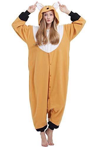 Pijama Animal Entero Unisex para Adultos con Capucha Cosplay Pyjamas Naranja Zorro Ropa de Dormir Traje de Disfraz para Festival de Carnaval Halloween Navidad