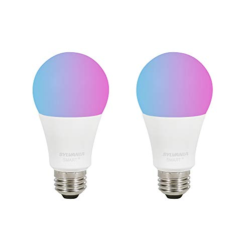 Sylvania Bluetooth Mesh Smart Light Bulb, A19 Full Color LED 60W Equivalent, Works with Alexa Only, 2 PK