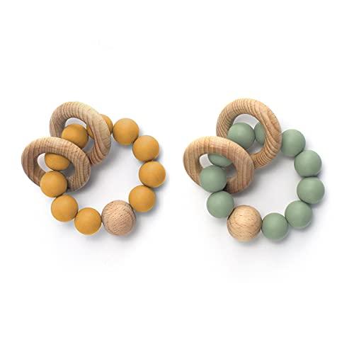 I LOVE MOM 2PCS Anillas Madera Mordedor Pulsera Montessori Bebe Kit Juguetes de Madera Kit Sonajero Mordedor Bebe,Anillo Madera Natural, Perlas Silicona Alimentaria (-4)