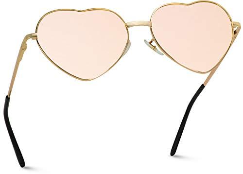 Women Metal Heart Frame Mirror Lens Cupid Heartshape Sunglasses (Mirror Pink Lens, 55)