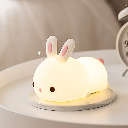 Luz de noche de conejo, lámpara de cabecera, control táctil, linda lámpara Kawaii para niños, de silicona suave, recargable por USB, decoración de regalo portátil para niños y recién nacidos