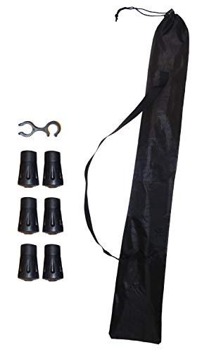O&W Security Funda para 2 Bastones de Marcha nórdica Correa de Transporte Muy Ligera Impermeable Negro 1 fijación de Embrague +6 Almohadillas de Goma para Grava Asfalto Compatible con Todos Bastones