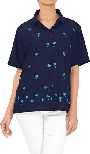 LA LEELA Bluzka hawajska   koszule dla kobiet chłopca   krótki rękaw   bluzka na imprezę plażową   lato na co dzień   luźna Aloha   XS - 3XL   rayon   Jednolity jednokolorowy