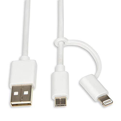 Cable de datos y carga 2 en 1 Lightning y Micro USB de 1,5 m (certificado MFi) - Blanco