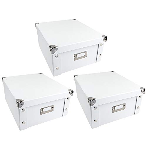 Ideen mit Herz Ordnungsboxen | 3er Set | Aufbewahrungsbox mit Deckel | faltbar | weiß | aus Pappe & Metall | jeweils 31cm x 26cm x 14cm