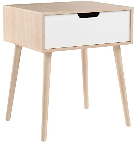 YAHEETECH End Side Table with Storage Drawer Solid Wood Legs Living Room 22.6in H