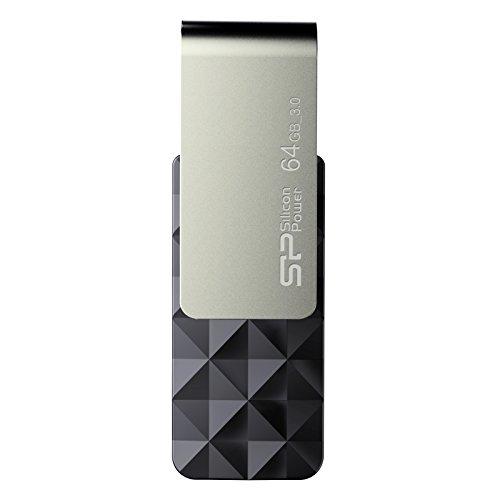 SP/Silicon Power 64GB Blaze B30 USB-Stick/Flash Laufwerk USB 3.0 mit schwenkbarer Kappe für Windows/Mac - schwarz-silber