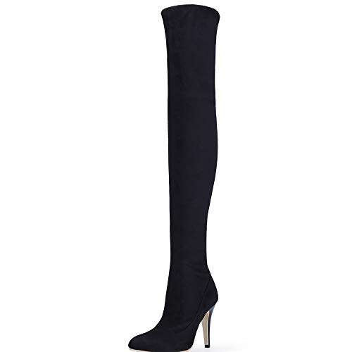 Shoe'N Tale Women Over The Knee High Stretchy Leather Thigh high Snow Boots (9 B(M) US, Black)