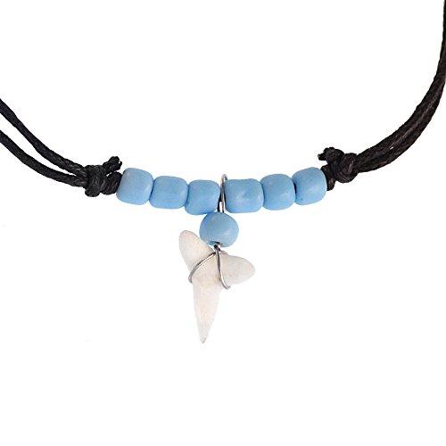 CHICNET - Collana da Surfista Legno con Ciondolo a Forma di Dente di squalo, Dipinta Cotone Regolabile Acciaio Inossidabile, Dente di squalo