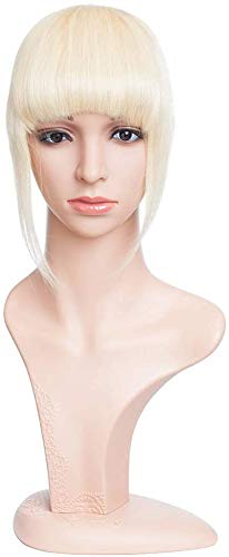 Frangia Clip Capelli Veri Frangetta Extension Capelli Veri Clip Fringe 100% Remy Human Hair Bang Lisci Naturali, 60 Biondo Platino