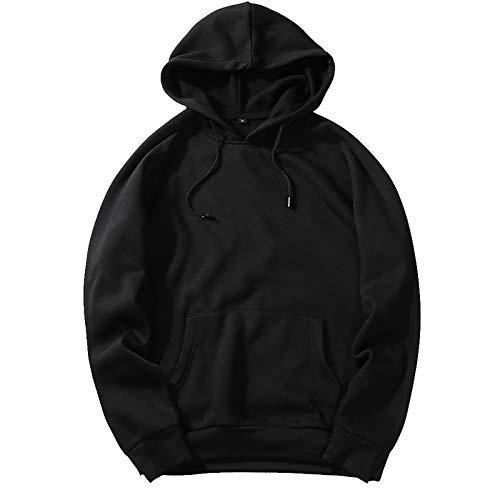 Elonglin Sweat-Shirt Homme Sweats à Capuche Sportswear Pull Over Coupe Lâche Couleur Unie (Noir EUR M)