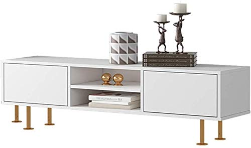 Vrijstaande TV-kast, voor woonkamer, media entertainment, cent, medium, opslagmedium, consolekast met verstelbare metalen poten tv-console met open vak display Sh 120 x 30 x 45 cm, wit
