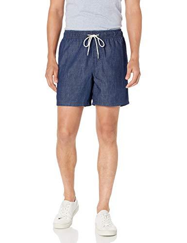 "Amazon Essentials 6"" Inseam Drawstring Walk Short Pantalones Cortos, Dark Wash Chambray, L 🔥"