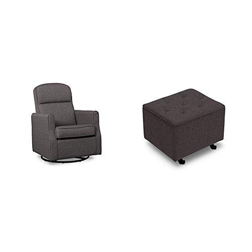 Delta Furniture Blair Slim Glider Swivel Rocker Chair with Tufted Gliding Ottoman, Charcoal