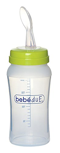 Bebé Due 80193 - Biberón con cuchara, color lima