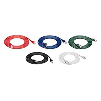 Amazon Basics Snagless RJ45 Cat-6 Ethernet Patch Internet Cable - 7-Foot Black/Red/Blue/White/Green 5-Pack