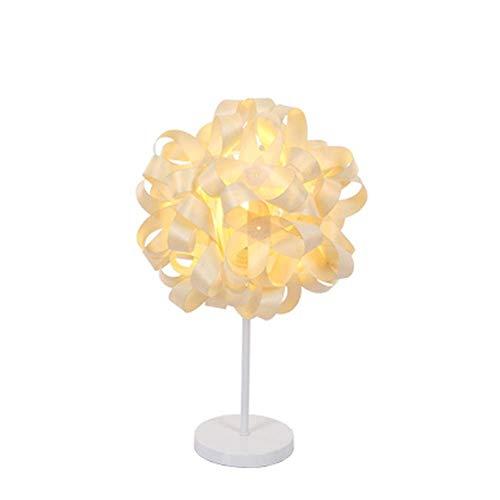 SHIJIAN White Metal Base Chic Modellierung Wohnzimmer Schlafzimmer Nachttischlampe, tolle Verarbeitung Nachttischlampe mit handgewebtem Furnier Lampenschirm + E14 Lampenfassung