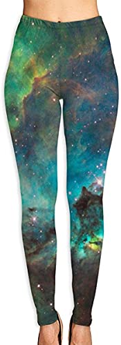 Carl Hamilton Yogahose Yoga Capris Gummi-Ente mit Sonnenbrille bedruckte Workout Leggings Gr. 31-35, Universe Galaxy Space Nebel