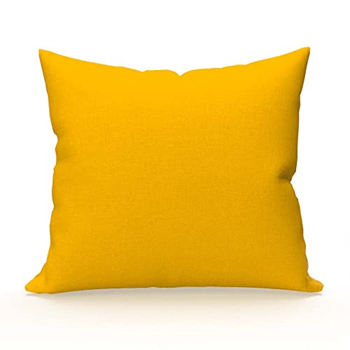 Soleil d'ocre Funda de Almohada Lisa de algodón 65x65 cm Amarilla