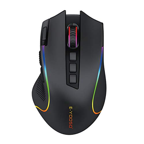 E-YOOSO X-11 Wireless Gaming Mouse, RGB Backlit, MMO 9 Programmable Buttons, with Macro Recording Side Buttons, Rapid Fire Button for Windows Computer Gamer, Black
