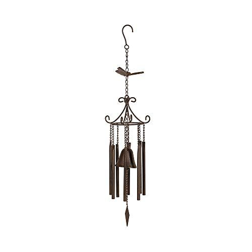 MOCOME Butterfly and Tubes Wind Chime with Bell, Outdoor Cast Iron Windchimes Metal Antique Hanging Decor for Outside Garden, Yard(Rusty)
