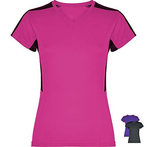 GO HEAVY Damen Funktions Fitness Lauf T-Shirt Kurzarm Yoga Gym Sportshirt V-Ausschnitt Feutigkeitsabsobierend Fuchsia/Schwarz XL