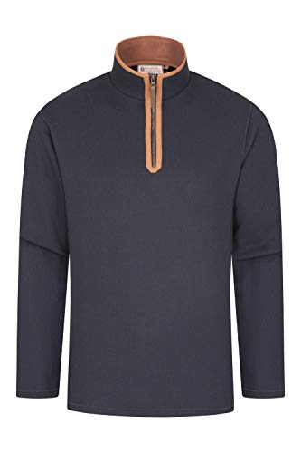 Mountain Warehouse Beta Reißverschluss-Herrenoberteil - Bequemes Shirt, warmes T-Shirt, weiches Mikrofleece-T-Shirt, Jacke mit halblangem Reißverschluss Für Belüftung, Frühling Kohle 3XL