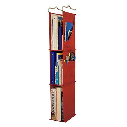 """Hanging Locker Ladder Organizer For School, Work, Gym Storage   3 Shelves   38"""" x 5.5"""" x 9"""" (Red)"""