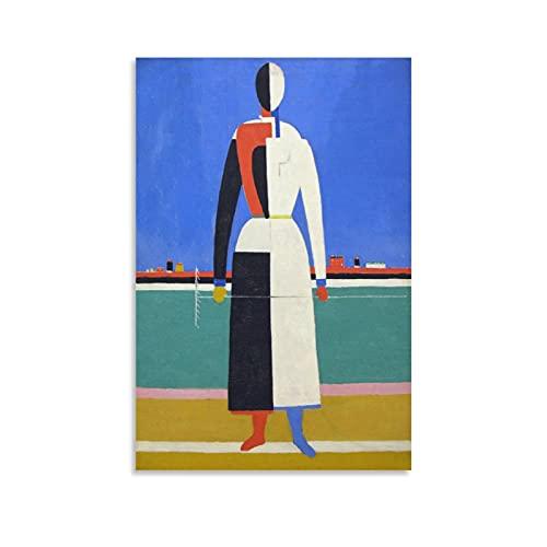 Póster de la mujer con rastrillo de Kazimir Malevich pintor ruso en lienzo y arte de la pared, impresión moderna de la habitación familiar carteles de 30 x 45 cm