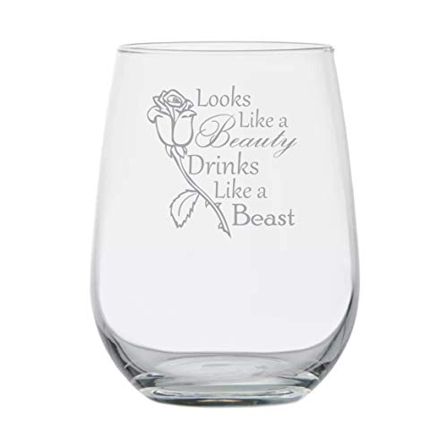 Funny Birthday Gifts - Looks Like a Beauty,Drinks Like a Beast - 15 oz Stemless Wine Glass - Adult Disney Belle Princess Inspired - Best Friend Rose