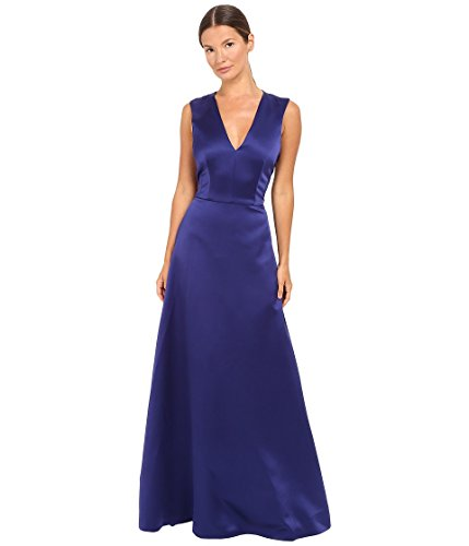 Alberta Ferretti Women's Sleeveless V-Neck Satin Gown, Deep Blue, 40