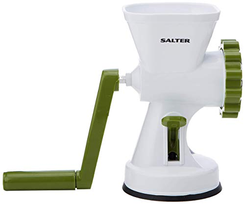 Salter BW06543AR Meat Mincer with Two Blade Attachments, Manual Hand Crank System, White/Green