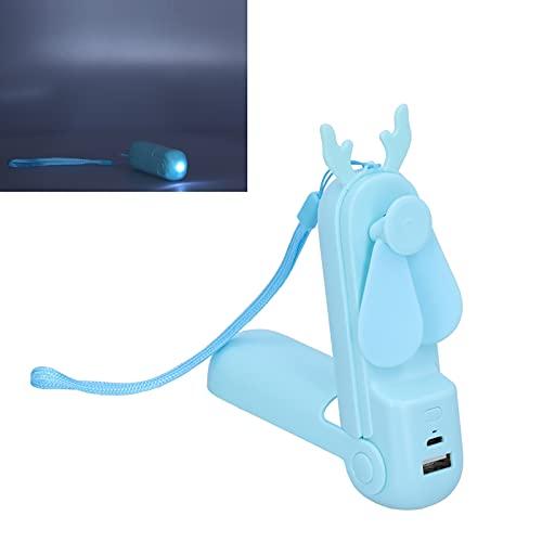 Mini Ventilador, aspas de Silicona de Verano con Carga USB, Ventilador de Mano, eléctrico, 2 Engranajes, portátil con Foco LED para Oficina, para Exteriores(Azul, Tipo de Torre Inclinada de Pisa)