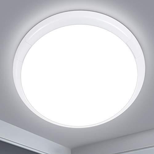 Oraymin 24W Ø30x6.5cm LED Deckenleuchte Rund,2400LM Deckenlampe,IP44 6500K Kaltweiß Wasserdicht Badlampe,für Badezimmer Schlafzimmer Wohnzimmer Küche Arbeitszimmer Balkon Badezimmerlampe