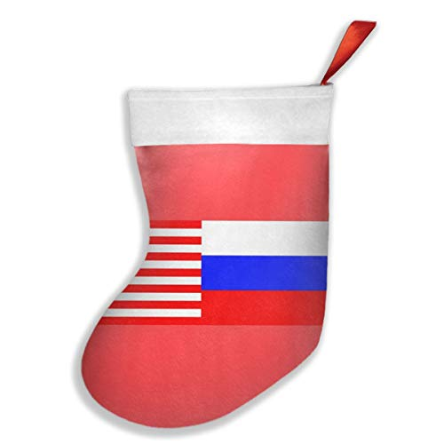 CHEERPEACETIME Merry Christmas Stockings Russian American Flags Xmas Socks Classic Red and White, for Christmas Reindeer Tree Family Holiday Xmas Santa Claus Party Decorations,10.2x16.5 Inches