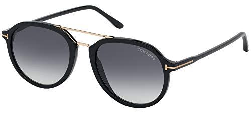 Tom Ford FT0674 01B - Occhiali da sole Rupert, in stile pilota dell'aviazione, lenti di categoria 2, misura 55, colore: nero lucido
