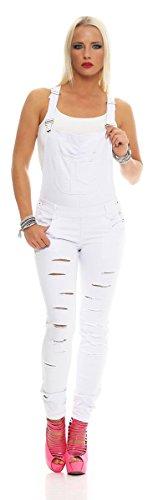 Fashion4Young 11040 Damen Latzhose Röhrenhose mit Hosenträgern Overall 2 Farben (S=36, Weiss)