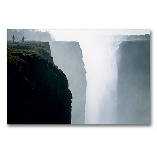 CALVENDO Premium Textil-Leinwand 90 x 60 cm Quer-Format Victoria Wasserfälle, Mosi-oa-Tunya der Donnernde Rauch, Leinwanddruck von Roland T. Frank