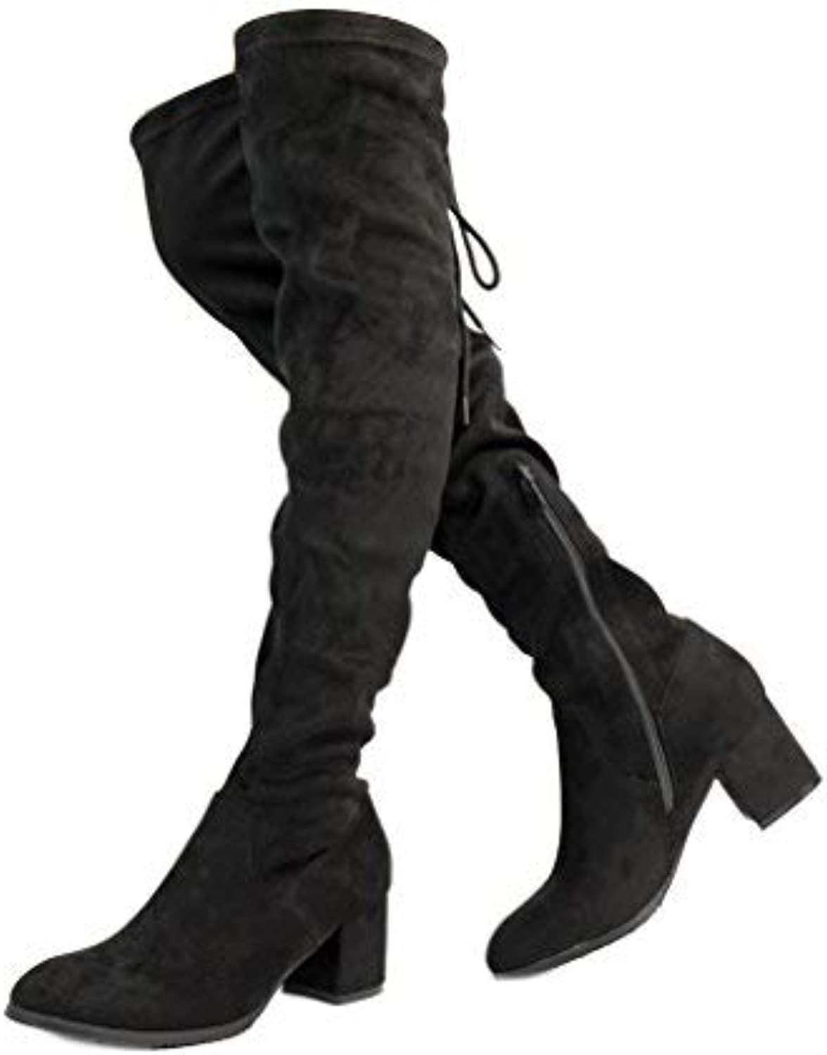 DREAM PAIRS Women's New-Portz Over The Knee Thigh High Chunky Heel Boots