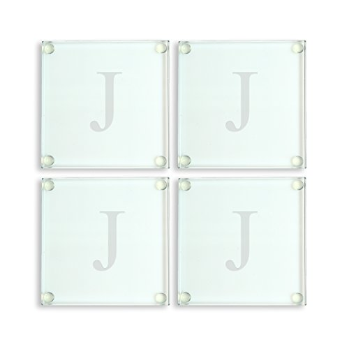 Cathy's Concepts Personalized Glass Coasters, Set of 4, Letter J