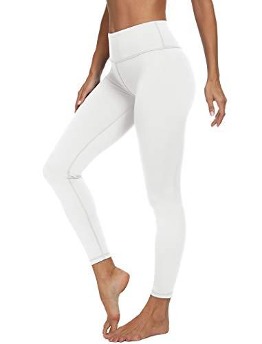 VIISHOW Women's High Waisted Yoga Leggings for Women Inside Pockets Tummy Control Yoga Pants Workout Pants, White, Medium