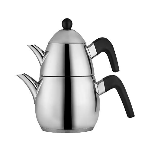 KARACA PowerSteel Pro Tokyo Teekannen-Set Mittelgroß, Edelstahl, Turkischer Teekocher, Wasserkocher, Induktion Geeignet…