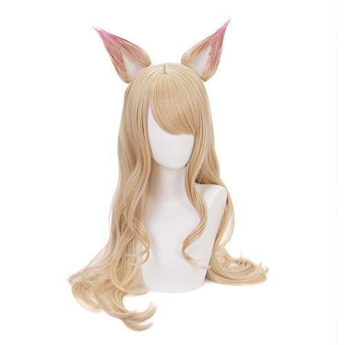 Muzi peluca LOL KDA Cosplay peluca para peluca Ahri con casquillo de peluca, juego de mujeres y niñas, peluca de personaje para League of Legends juego de rol